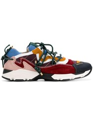 Carven Colour Block Lace Up Sneakers Red