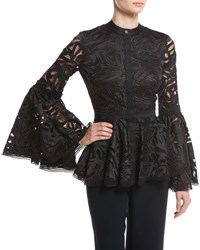 Alexis Jolene Guipure Lace Bell Sleeve Top Black