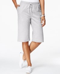 Karen Scott Petite Pull On Knit Skimmer Shorts Pale Grey Heather
