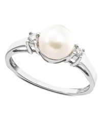 Macy's Cultured Freshwater Pearl And Diamond 1 10 Ct. T.W. Ring In 14K White Gold Black