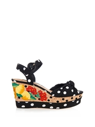 Dolce And Gabbana Polka Dot Embroidered Wedge Sandals