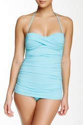 Tommy Bahama Pearls Twist Front Bandini Full Coverage One Piece Blue