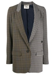 Semicouture Checked Patchwork Blazer Brown