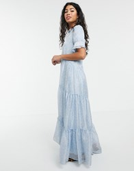 Sister Jane Tiered Maxi Dress In Ditsy Vintage Floral Blue