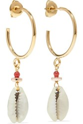 Isabel Marant Gold Tone Shell Earrings One Size