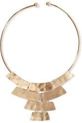 Kenneth Jay Lane Hammered Gold Tone Necklace