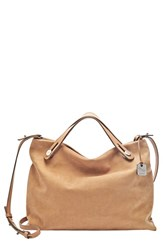 Skagen 'Mikkeline' Leather Satchel Beige Light Tan