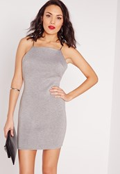 Missguided Square Neck Bodycon Dress Grey Marl Grey