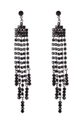 Cristabelle Rhinestone Fringe Earrings Black