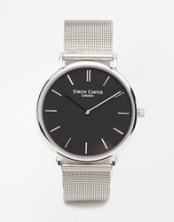 Simon Carter Mesh Strap Watch Silver