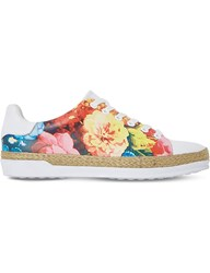 Dune Elissa Espadrille Leather Trainers Multi Printed Synthetic