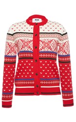 Msgm Jacquard Knit Cardigan Red