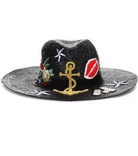 Dolce And Gabbana Straw Hat With Applique Black