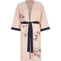 River Island Pink Floral Embroidered Belted Kimono