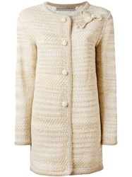 Ermanno Scervino Bow Detail Cardi Coat Nude And Neutrals