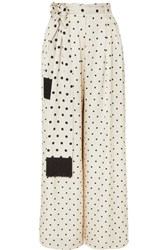 Mother Of Pearl Fringed Polka Dot Satin Wide Leg Pants Ivory