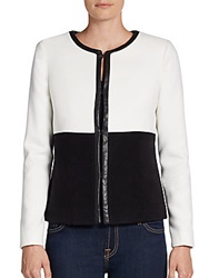 Saks Fifth Avenue Black Felted Cropped Jacket Black White