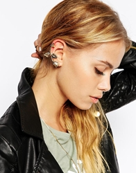 Asos Leaf And Rose Ear Cuff Gold