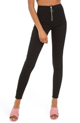 Topshop Women's Joni High Rise Zip Front Super Skinny Jeans Black