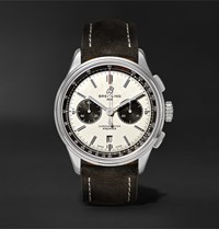 Breitling Premier B01 Chronograph 42Mm Stainless Steel And Nubuck Watch White