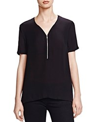 The Kooples Half Zip Silk Tee Black