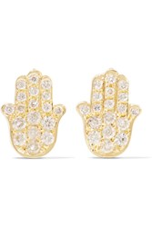 Jennifer Meyer Mini Hamsa 18 Karat Gold And Diamond Earrings