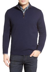 Men's Thomas Dean Regular Fit Quarter Zip Merino Wool Sweater
