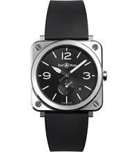 Bell And Ross Brsblcst Aviation Steel And Rubber Watch