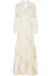 Erdem Sheena Ruffled Metallic Fil Coupe Gown Ecru