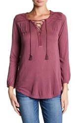 Lucky Brand Lace Up Peasant Blouse Purple
