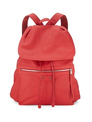 Balenciaga Drawstring Leather Backpack Red