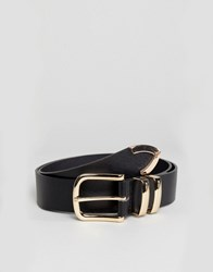 Glamorous Black With Gold Buckle Jeans Belt