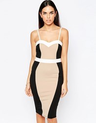 Jessica Wright Carmel Bodycon Pencil Dress Nude White Black Multi