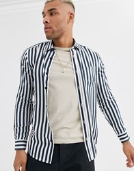 Only And Sons Shirt With Vertical Stripe In Navy