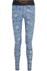The Upside Shimoda Printed Stretch Jersey Leggings Blue