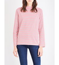 Mih Jeans Emelie Striped Cotton Jersey Top Clay Red Stripe