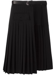Dsquared2 Pleated Layer Belted Skirt Black
