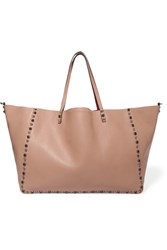 Valentino The Rockstud Reversible Embellished Textured Leather Tote Blush