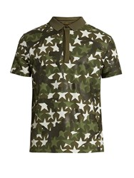 Valentino Camustars Print Cotton Pique Polo Shirt Green
