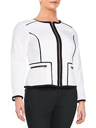 Calvin Klein Plus Size Contrast Piping Zip Front Jacket White Black
