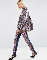 Asos White Textured Floral Skinny Trousers Multi