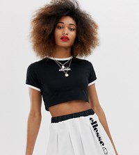Ellesse Crop Top With Front Logo Co Black