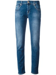 7 For All Mankind Light Wash Slim Fit Jeans Blue