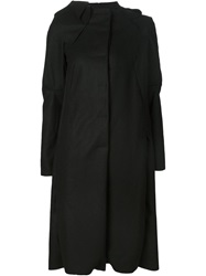 Barbara I Gongini Asymmetric Felt Coat Black