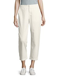 Leo And Sage Solid Cropped Cotton Pants White