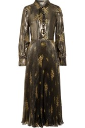 Suno Pleated Metallic Floral Print Silk Blend Maxi Dress Gold