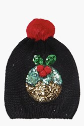 Boohoo Sequin Pudding Pom Beanie Hat Black