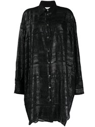 Faith Connexion Metallic Thread Shirt Dress Black