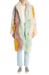 Sandy Liang Wavy Patchwork Reversible Genuine Shearling Coat Rainbow Shearling