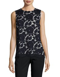 Karl Lagerfeld Floral Lace Keyhole Top